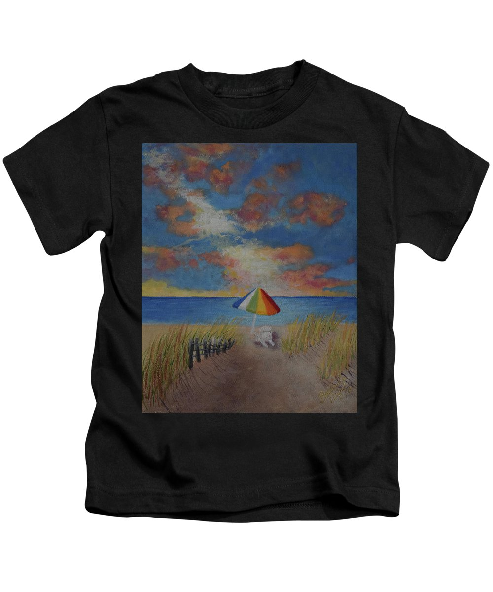 Beach Kids T-Shirt featuring the painting Harmony by Belinda Nagy