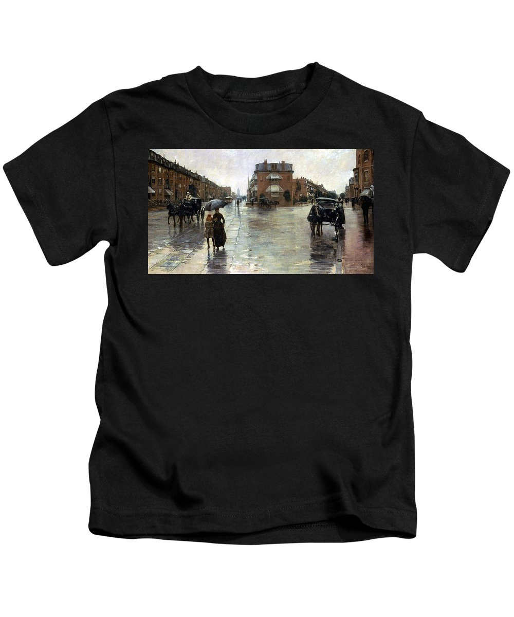 1885 Kids T-Shirt featuring the photograph Hassam: Rainy Boston, 1885 by Granger