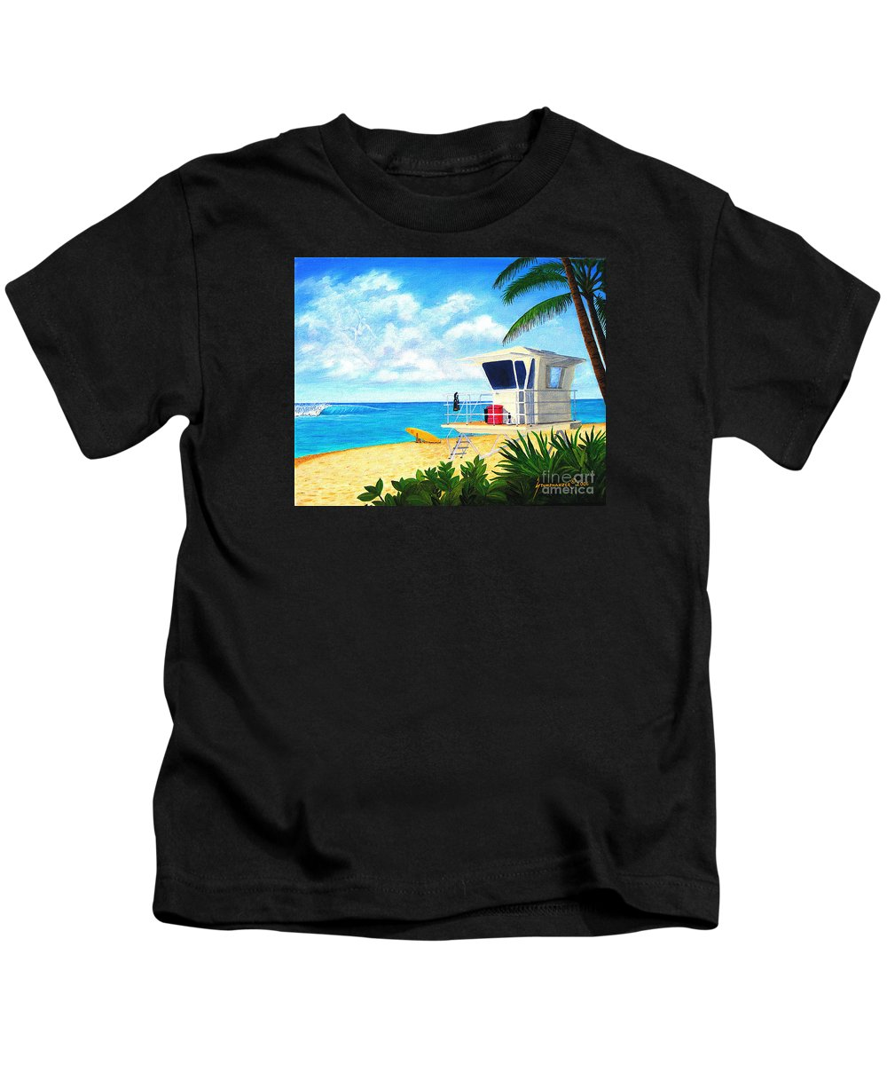 Hawaii Kids T-Shirt featuring the painting Hawaii North Shore Banzai Pipeline by Jerome Stumphauzer