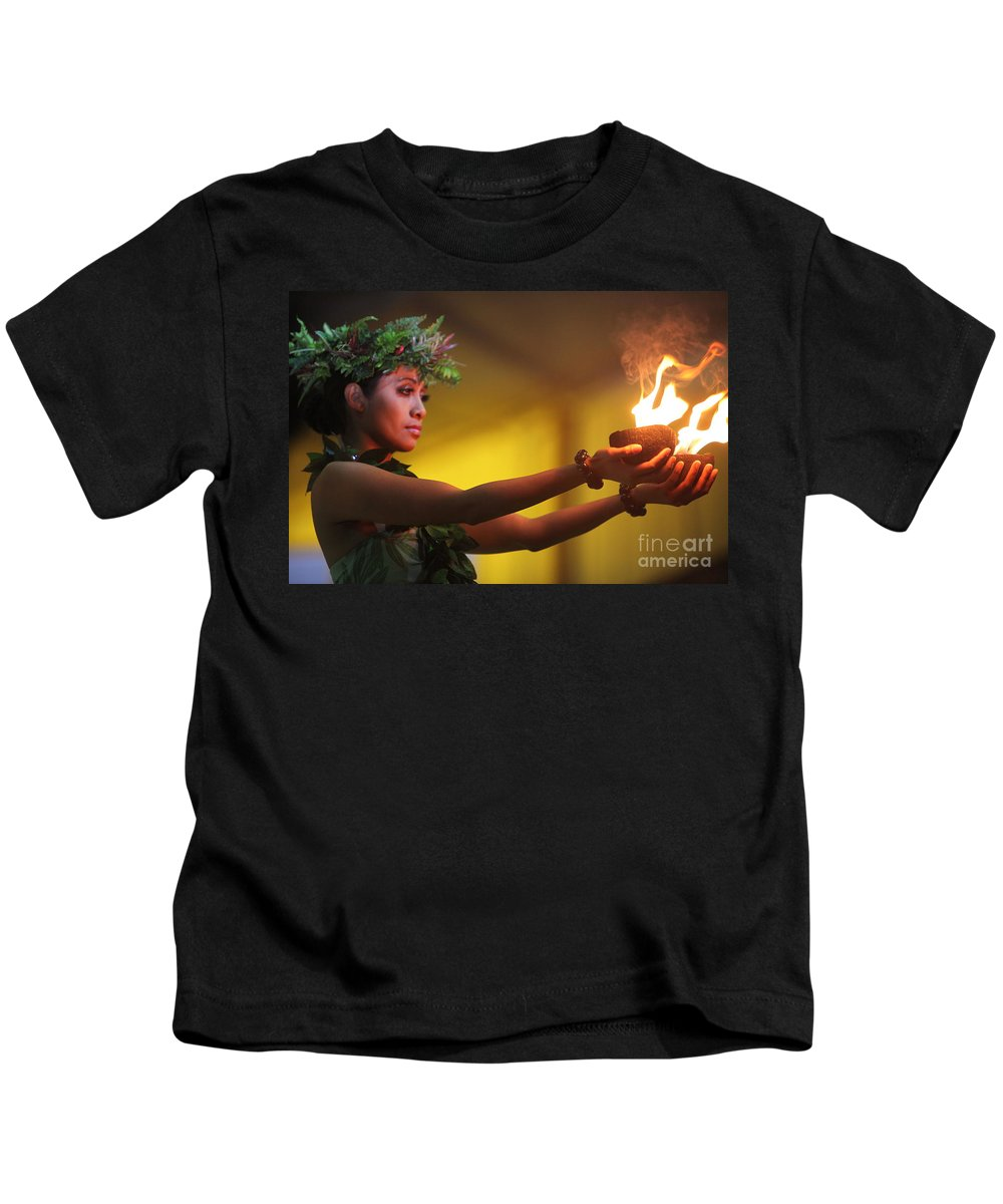 Fire Kids T-Shirt featuring the photograph Hawaiian Dancer and Firepots by Nadine Rippelmeyer