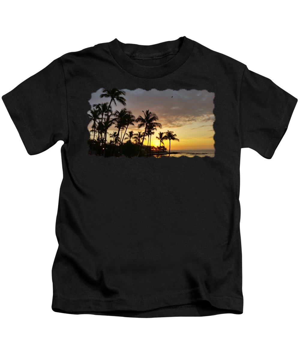 Pamela Walton Kids T-Shirt featuring the photograph Hawaiian Sunset Design by Pamela Walton