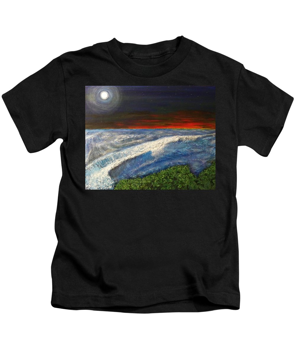 Beaches Kids T-Shirt featuring the painting Hawiian View by Michael Cuozzo