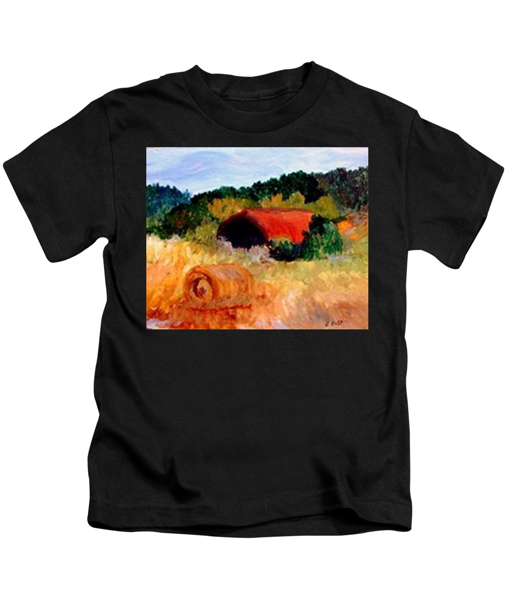 Hayrolls Kids T-Shirt featuring the painting Hayrolls by Gail Kirtz