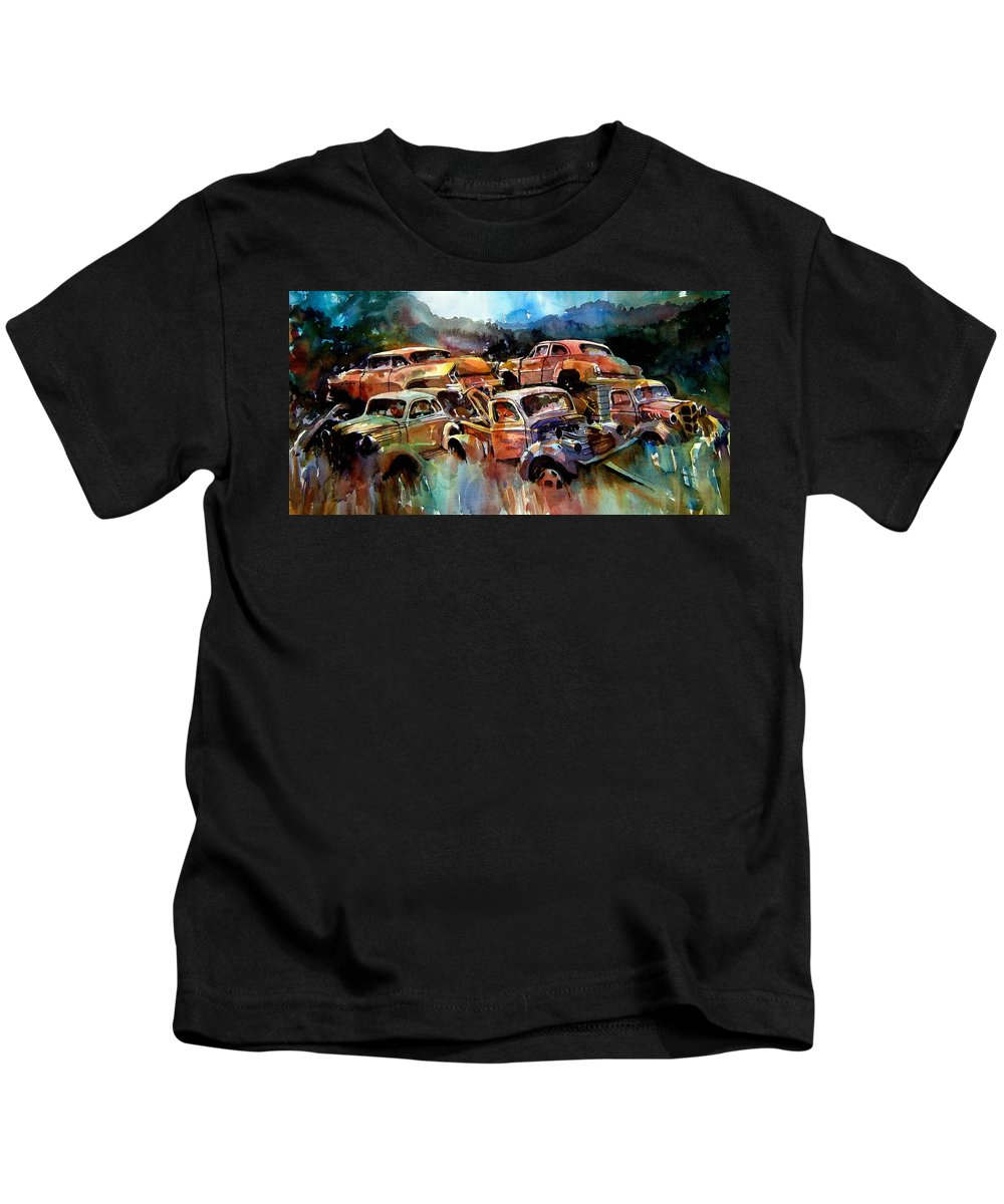 Cars Kids T-Shirt featuring the painting Heaped Wrecks by Ron Morrison