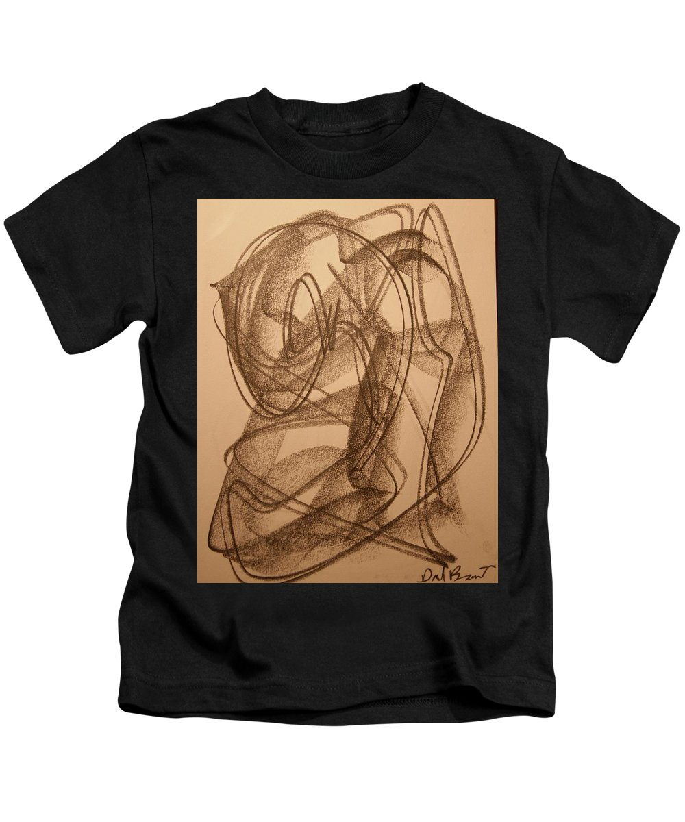 Abstract Kids T-Shirt featuring the drawing Heart by David Barnicoat