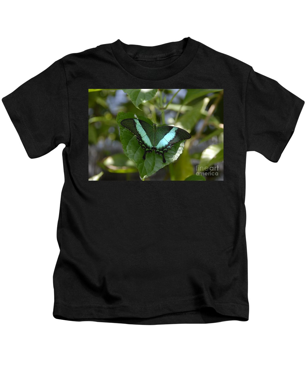 Butterfly Kids T-Shirt featuring the photograph Heart Leaf Butterfly by David Lee Thompson