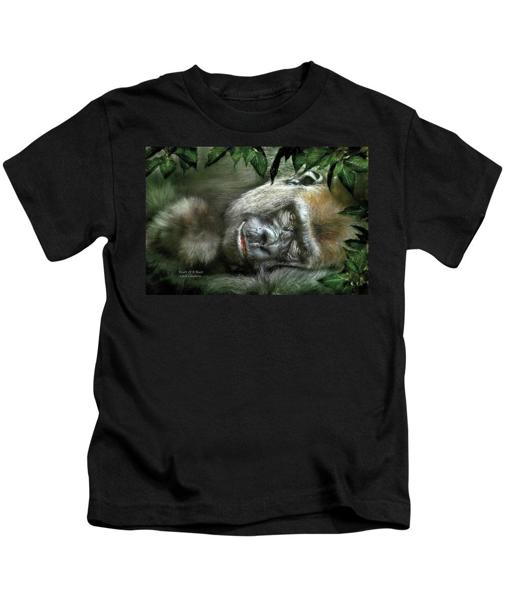 Gorilla Kids T-Shirt featuring the mixed media Heart Of A Beast by Carol Cavalaris