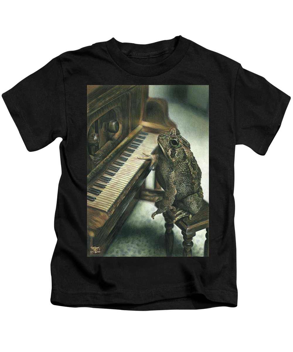Heart Kids T-Shirt featuring the drawing Heart Of The Symphony by Cara Bevan