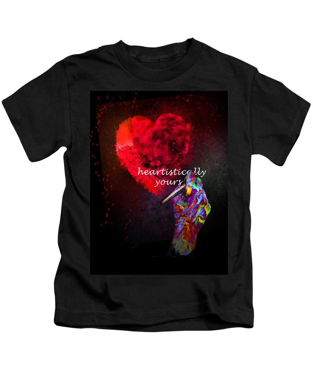 Valentine Kids T-Shirt featuring the painting Heartistically Yours by Miki De Goodaboom