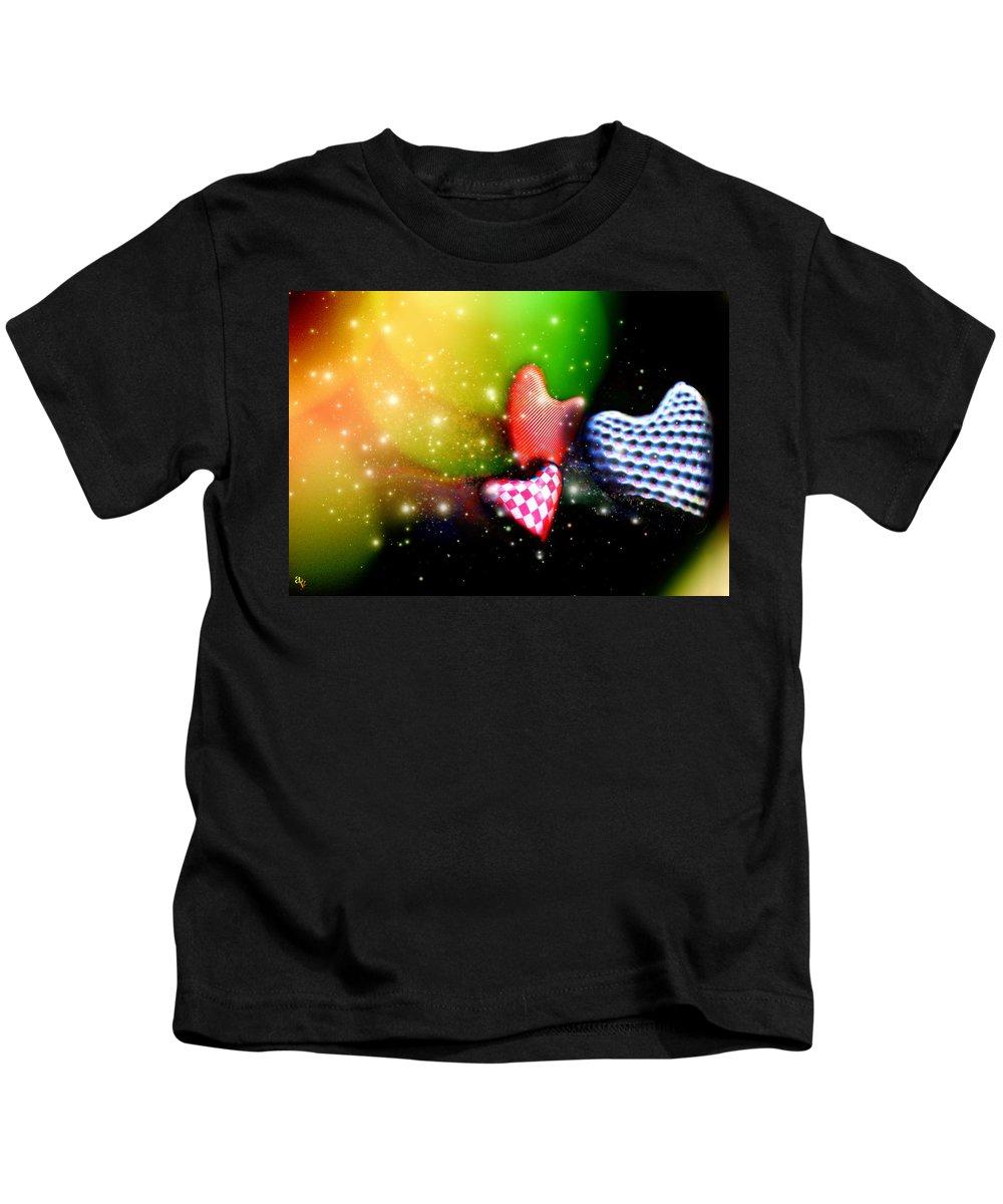 Hearts Kids T-Shirt featuring the digital art Hearts Racing by Adam Vance