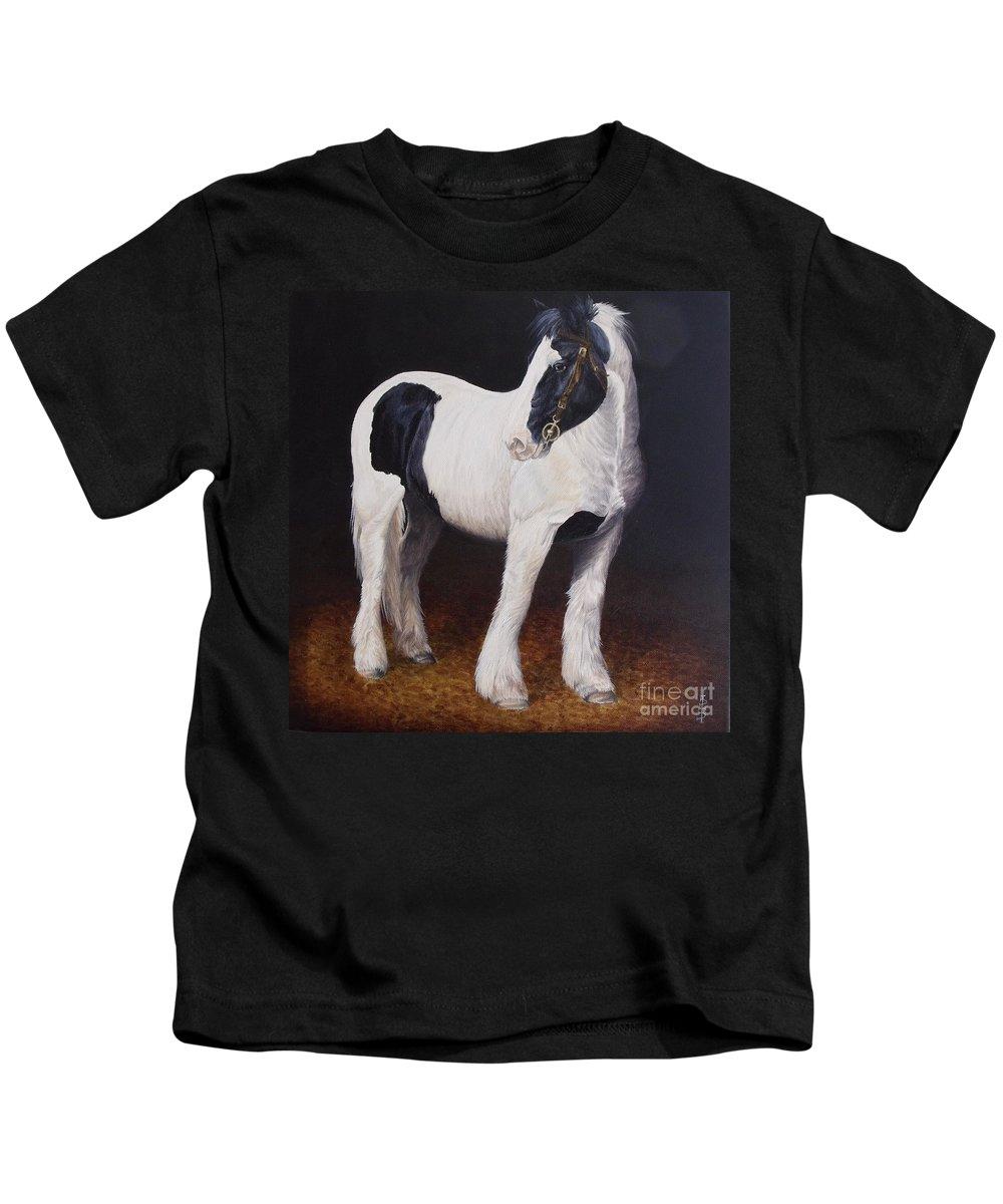 Portrait Kids T-Shirt featuring the painting Heavy Stallion Glin Fair by Pauline Sharp