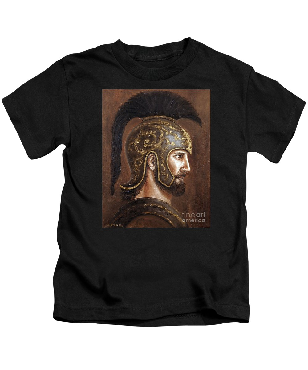 Warrior Kids T-Shirt featuring the painting Hector by Arturas Slapsys