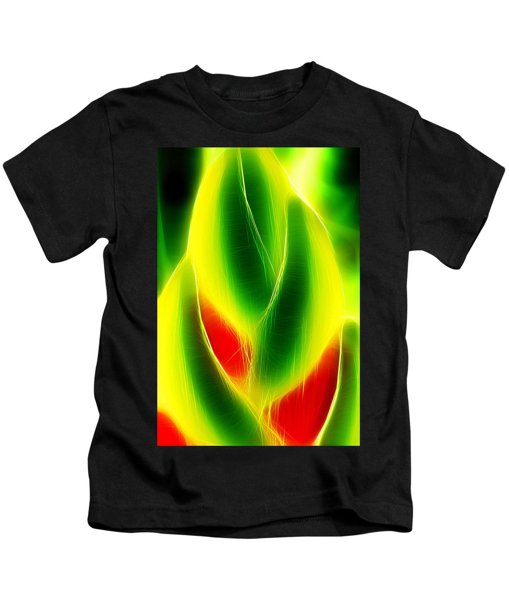 America Kids T-Shirt featuring the painting Heliconia Stem In Costa Rica by Hans Schrodter