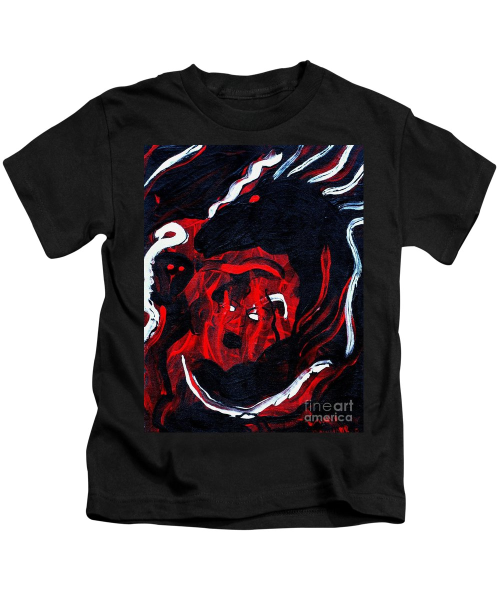Horse Woman Red Black Silver Kids T-Shirt featuring the painting Hell Beast by Dawn Downour