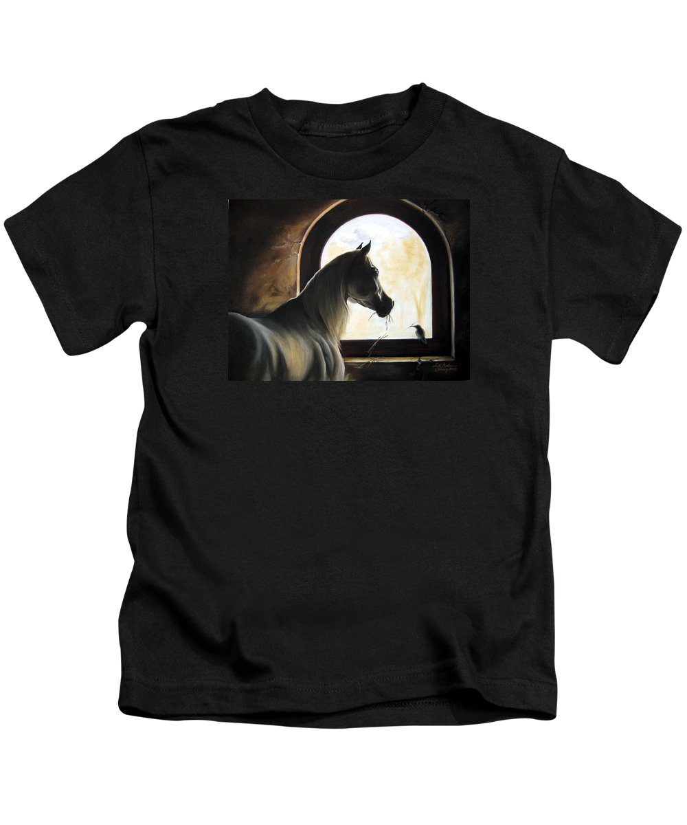 Kids T-Shirt featuring the painting Helping by Leyla Munteanu