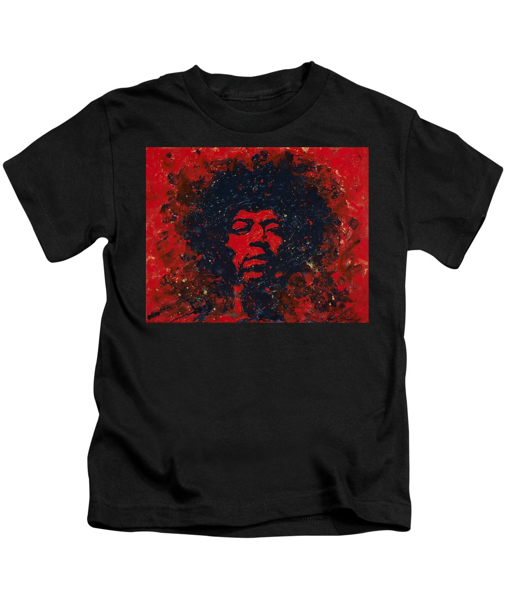 Jimi Hendrix Kids T-Shirt featuring the painting Hendrix by Chris Mackie