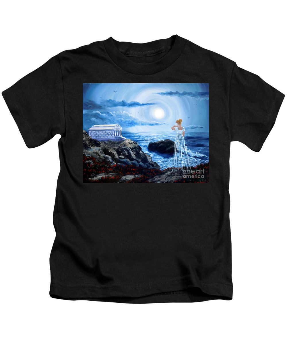 Dark Art Kids T-Shirt featuring the painting Her Tomb By The Sounding Sea by Laura Iverson