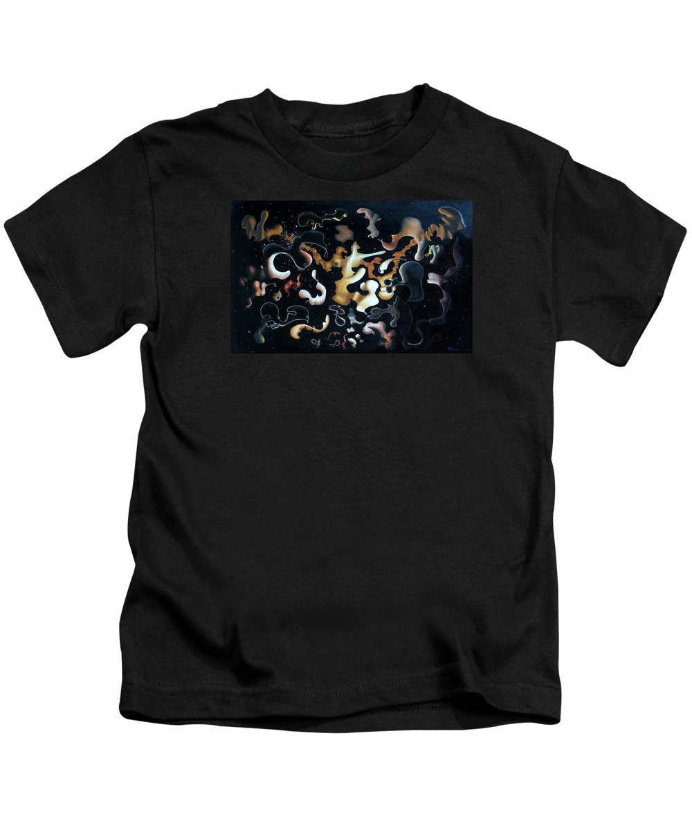 Abstract Kids T-Shirt featuring the painting Herculean Construction by Dave Martsolf