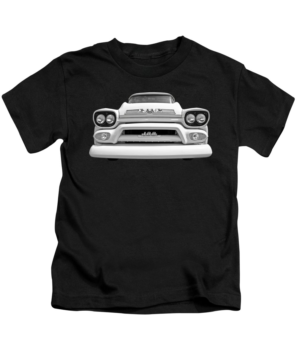 Gmc Truck Kids T-Shirt featuring the photograph Here Comes The Sun - Gmc 100 Pickup 1958 Black And White by Gill Billington