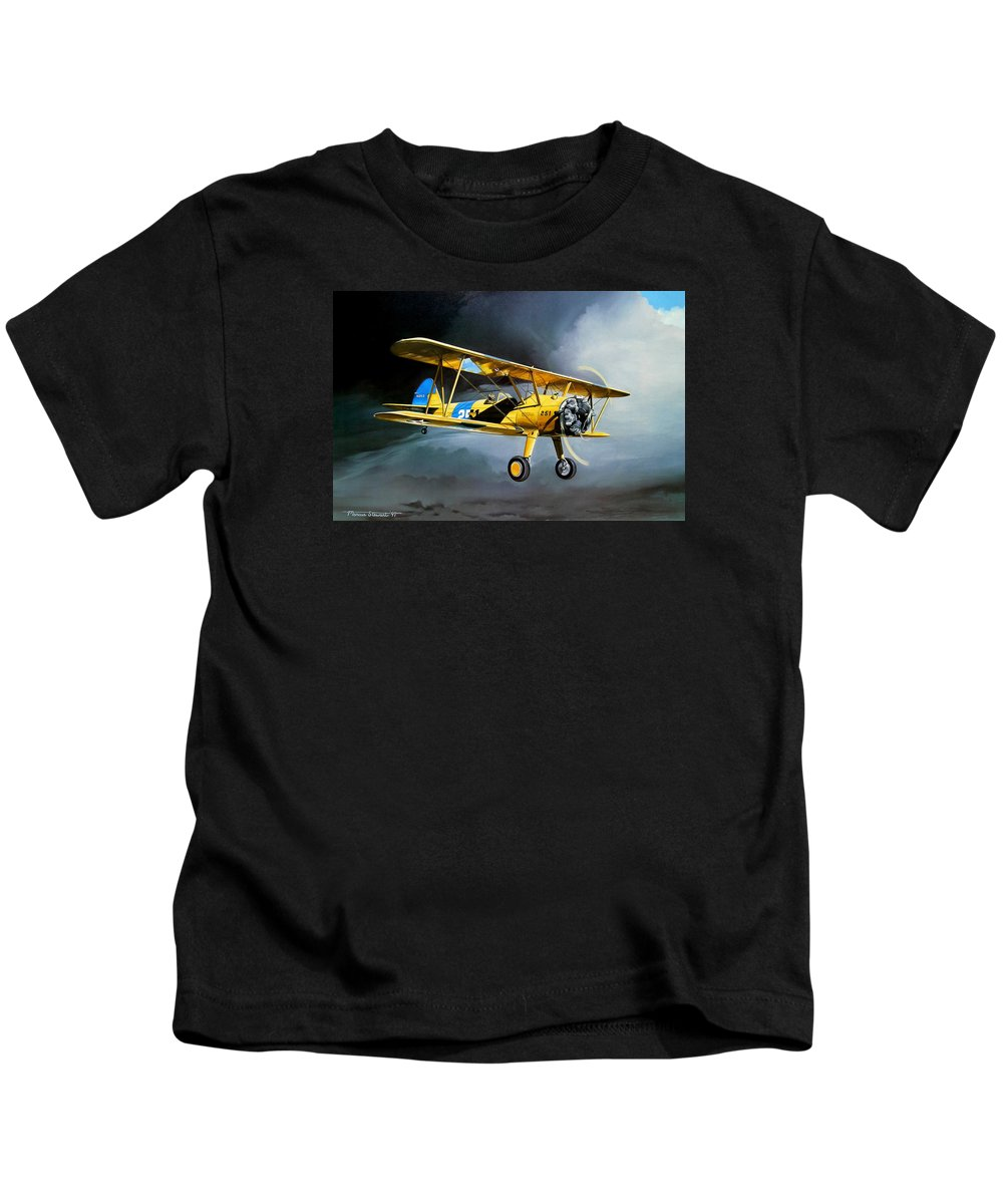 Military Kids T-Shirt featuring the painting Here Comes The Sun by Marc Stewart