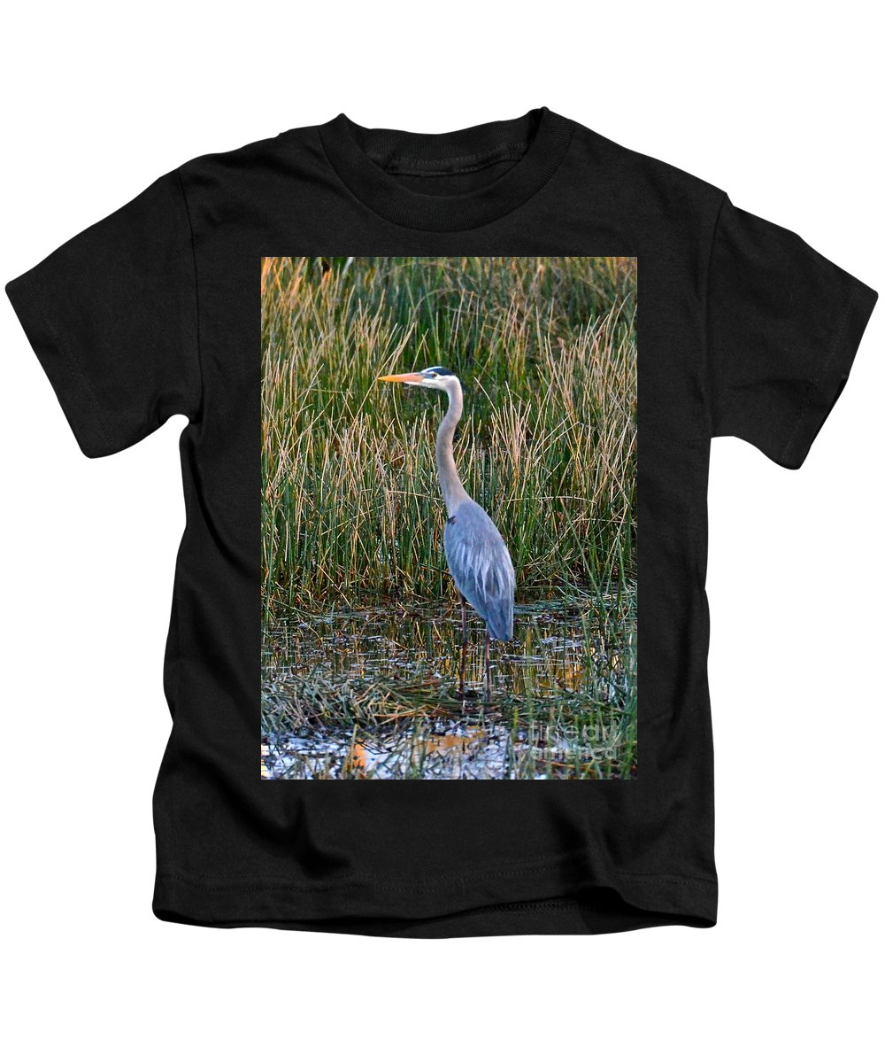 Heron Kids T-Shirt featuring the photograph Heron At Sunset by Carol Bradley