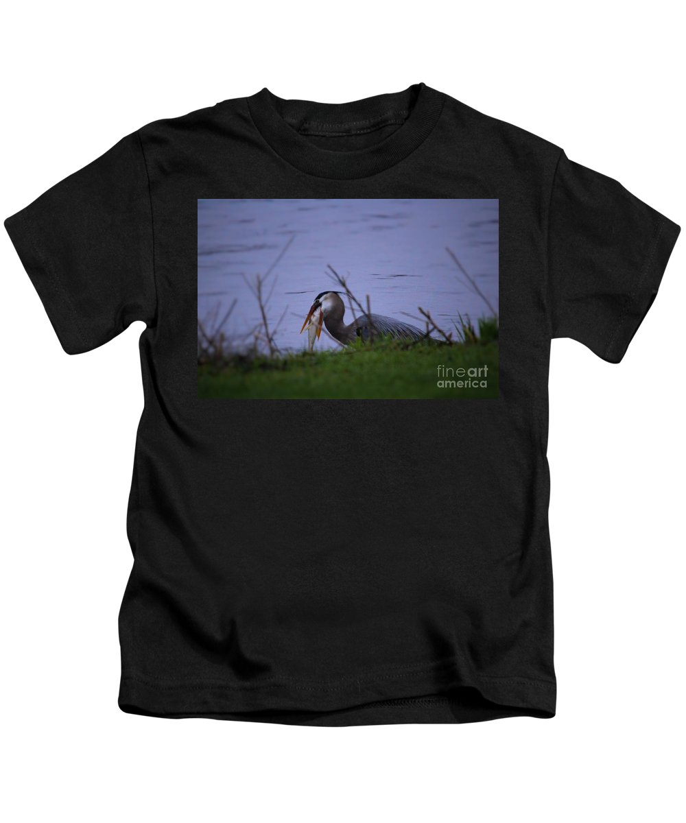 Illinois Kids T-Shirt featuring the photograph Heron Trying To Get His Fish by Laura Birr Brown