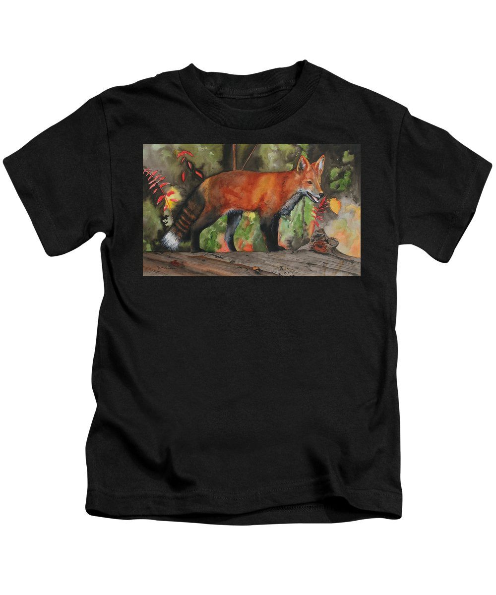 Fox Kids T-Shirt featuring the painting Hiding In Plain Sight by Jean Blackmer
