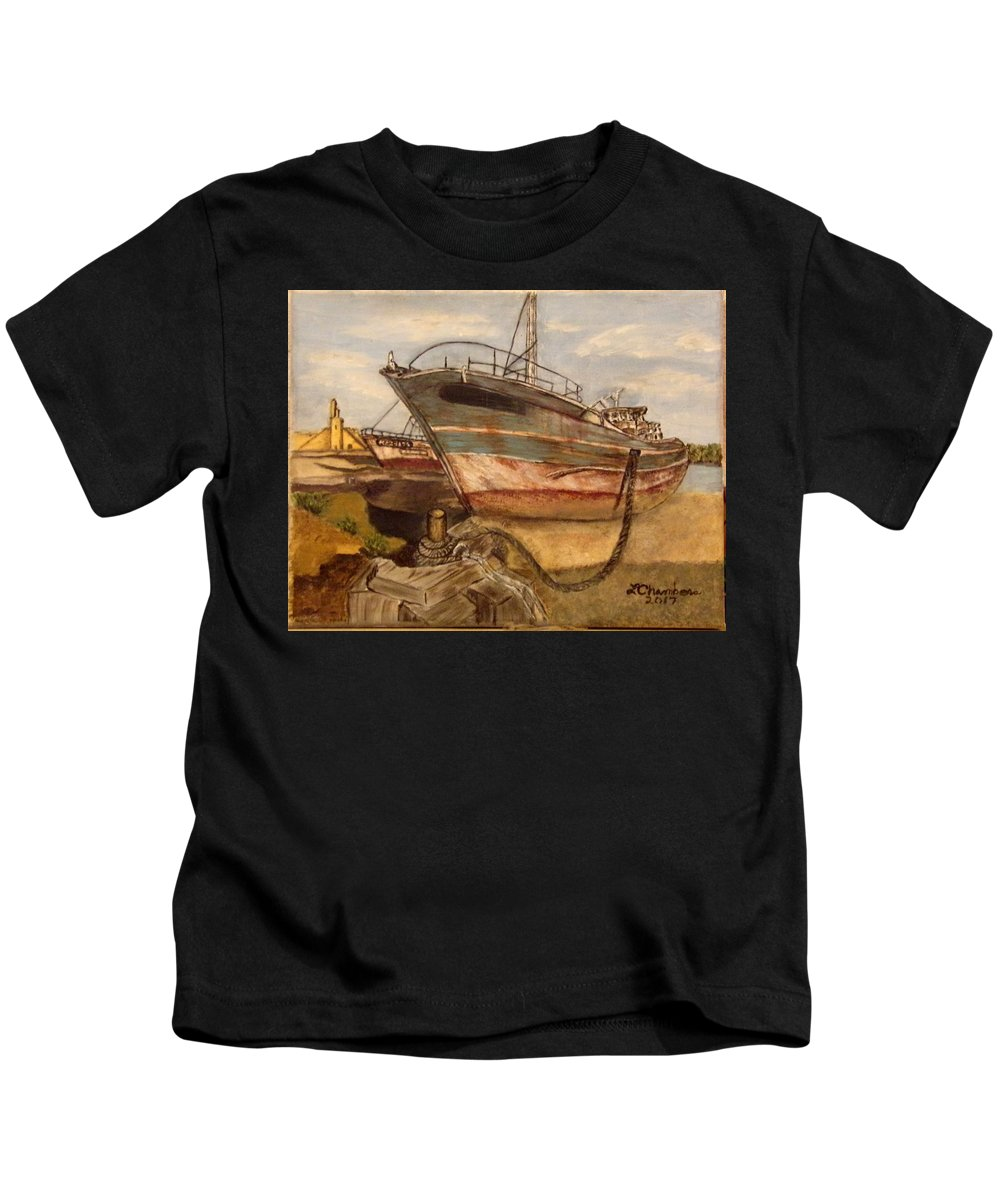 Boat Kids T-Shirt featuring the painting High And Dry by Linda Chambers
