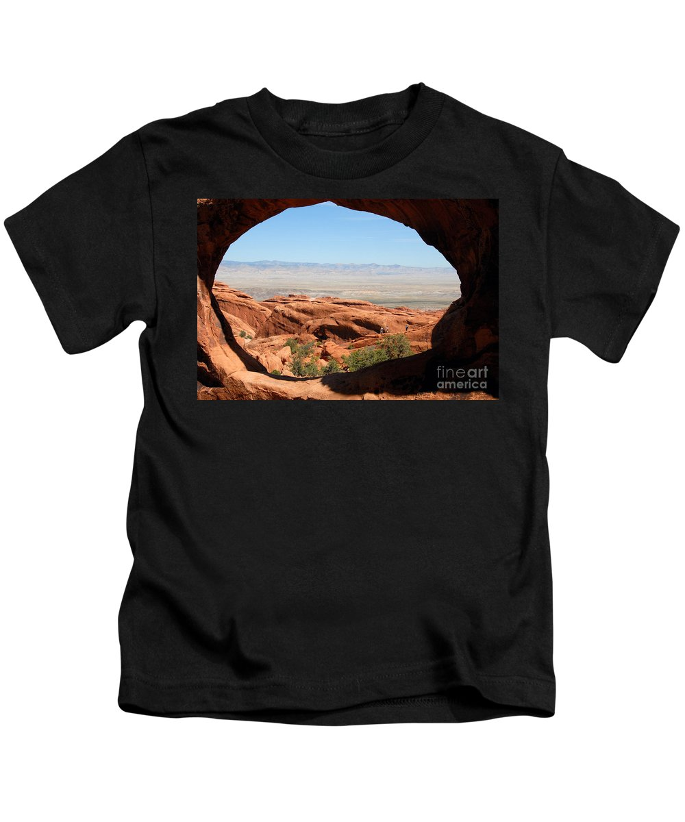 Arches National Park Utah Kids T-Shirt featuring the photograph Hiking Through Arches by David Lee Thompson