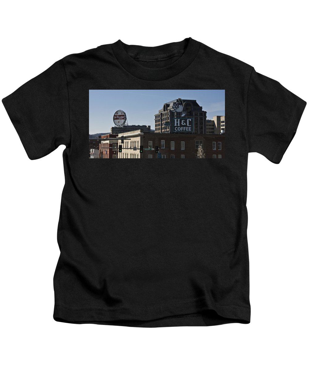 Roanoke Kids T-Shirt featuring the photograph Historic Landmark Signs Roanoke Virginia by Teresa Mucha
