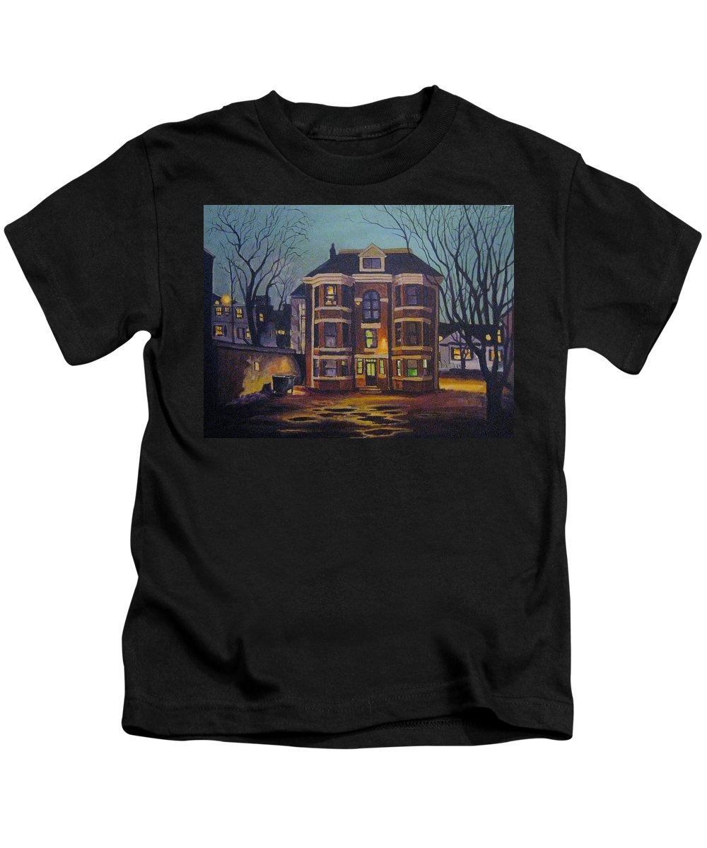 Moody Kids T-Shirt featuring the painting Historic Property South End Haifax by John Malone