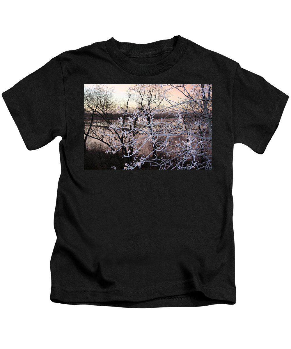 Hoar Frost Trees Lake Water Autumn Winter Ice White Cold Kids T-Shirt featuring the photograph Hoar Frost by Andrea Lawrence