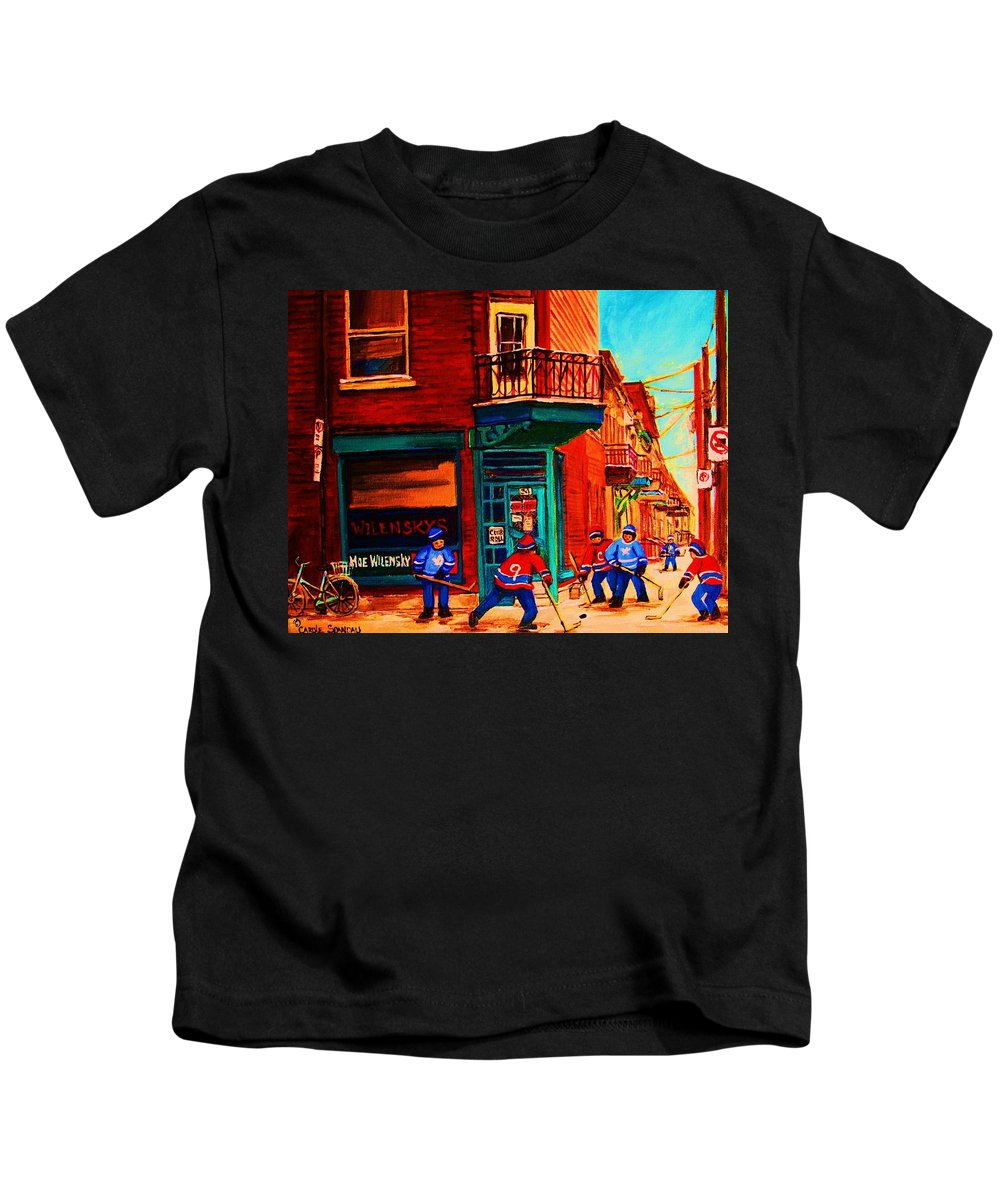 Wilenskys Kids T-Shirt featuring the painting Hockey At Wilenskys Corner by Carole Spandau