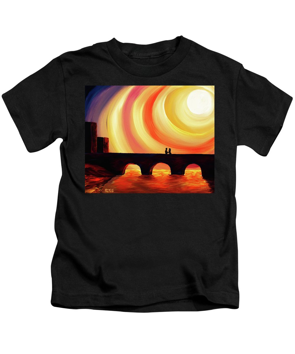 Bridge Kids T-Shirt featuring the painting Hold Me by Angel Reyes