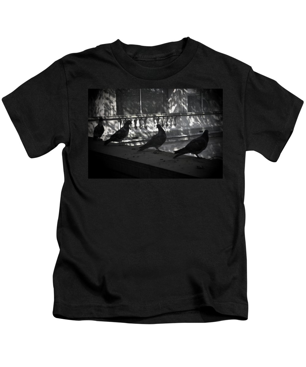 Birds Kids T-Shirt featuring the photograph Holding Court by Tim Nyberg