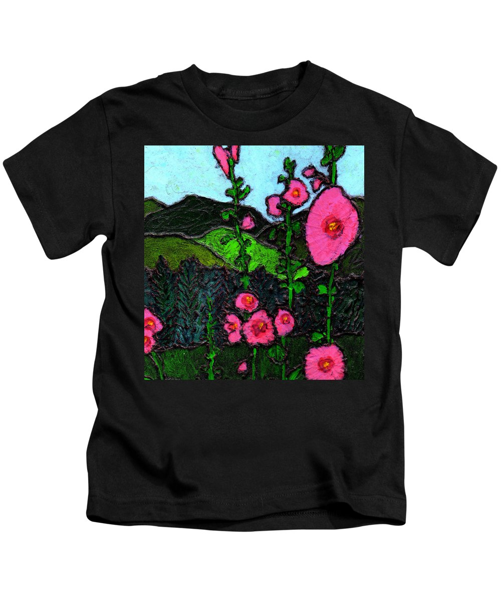 Hollyhocks Kids T-Shirt featuring the painting Hollyhocks by Wayne Potrafka