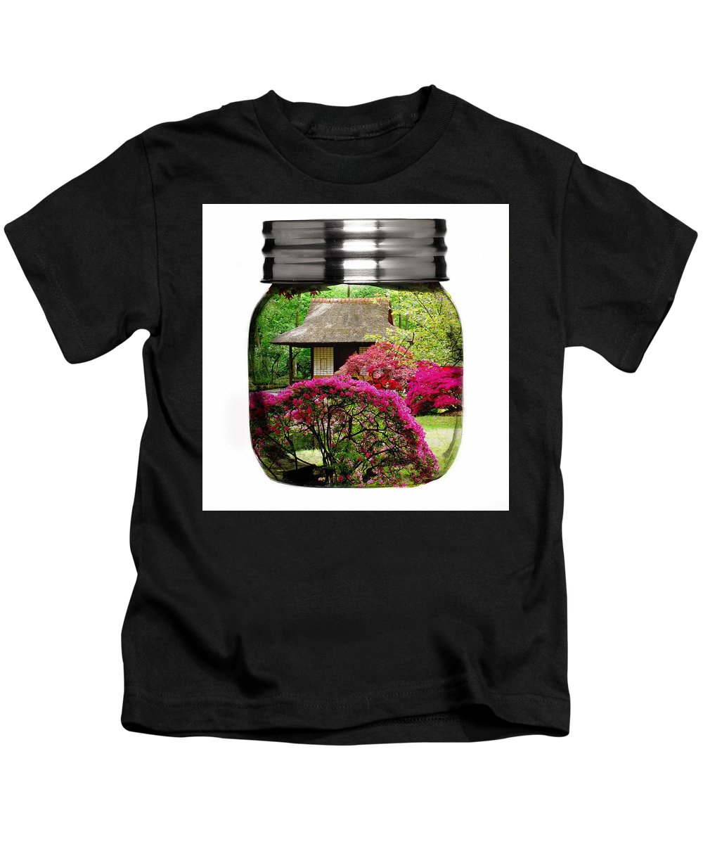 Flower Kids T-Shirt featuring the mixed media Home Flower Garden In A Glass Jar Art by Marvin Blaine