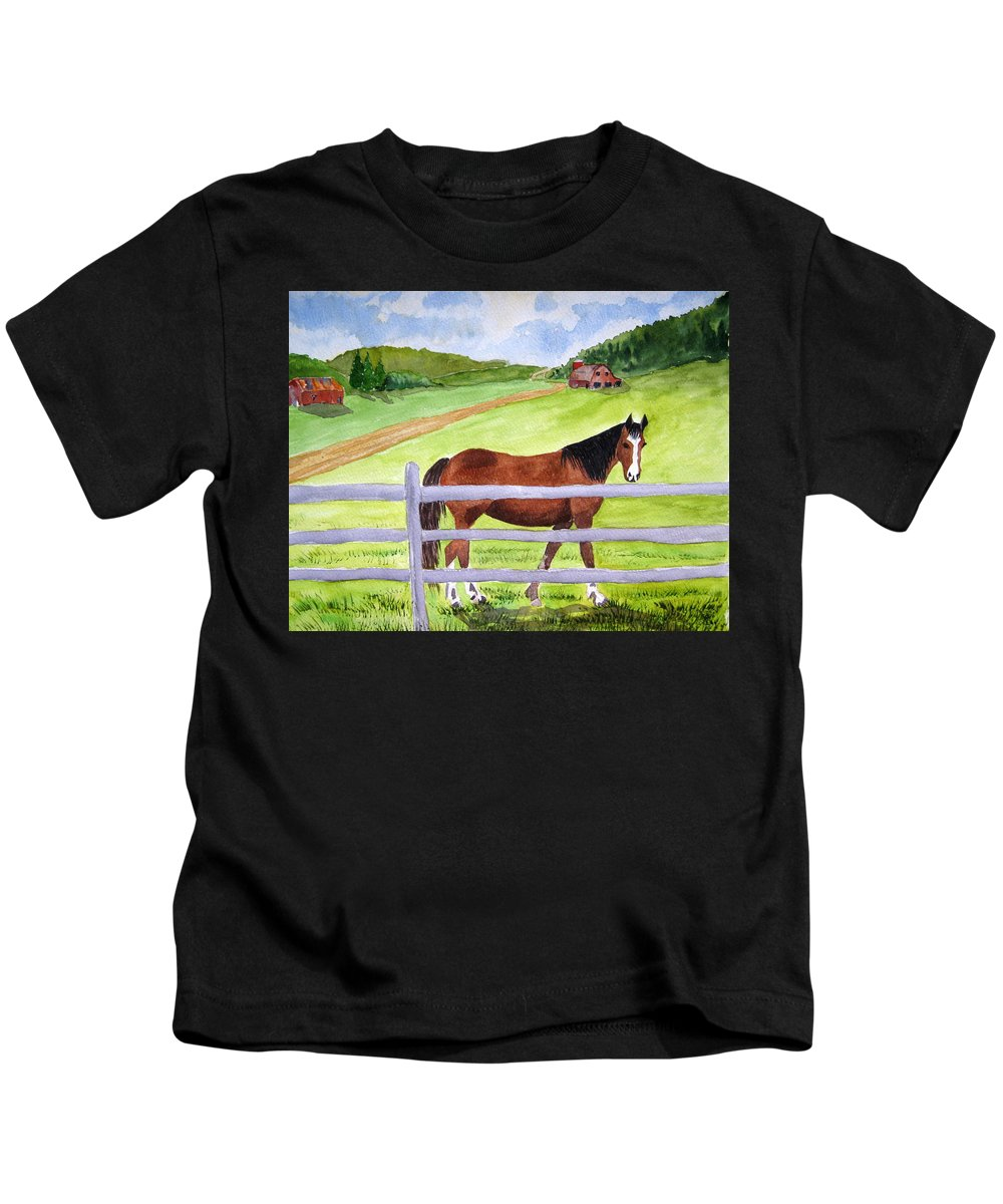 Horse Kids T-Shirt featuring the painting Home On The Farm by Julia RIETZ