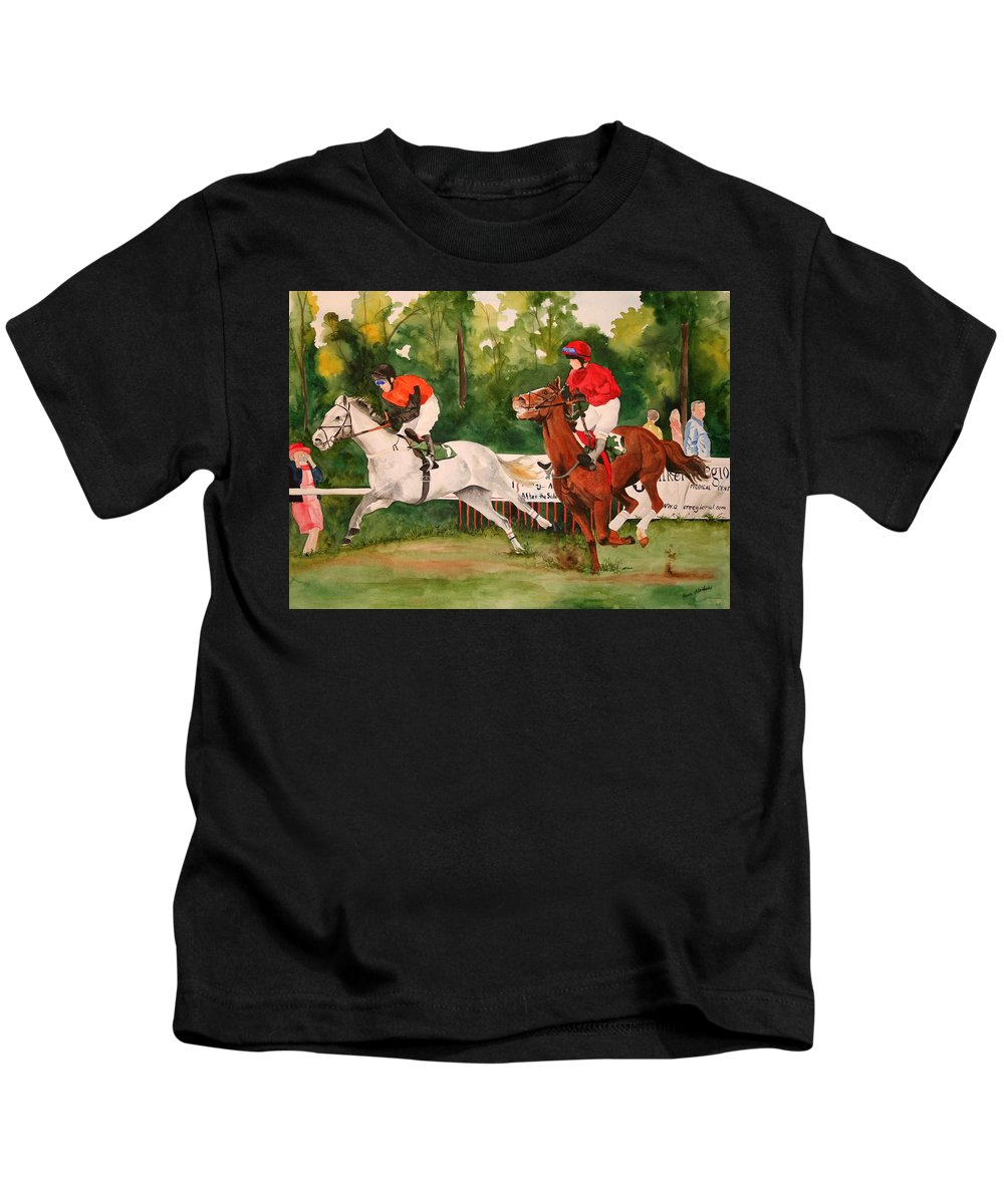 Racing Kids T-Shirt featuring the painting Homestretch by Jean Blackmer