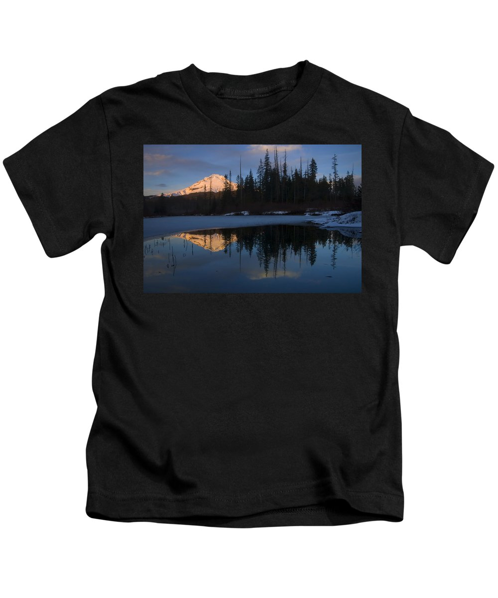 Mt. Hood Kids T-Shirt featuring the photograph Hood Alpenglow by Mike Dawson