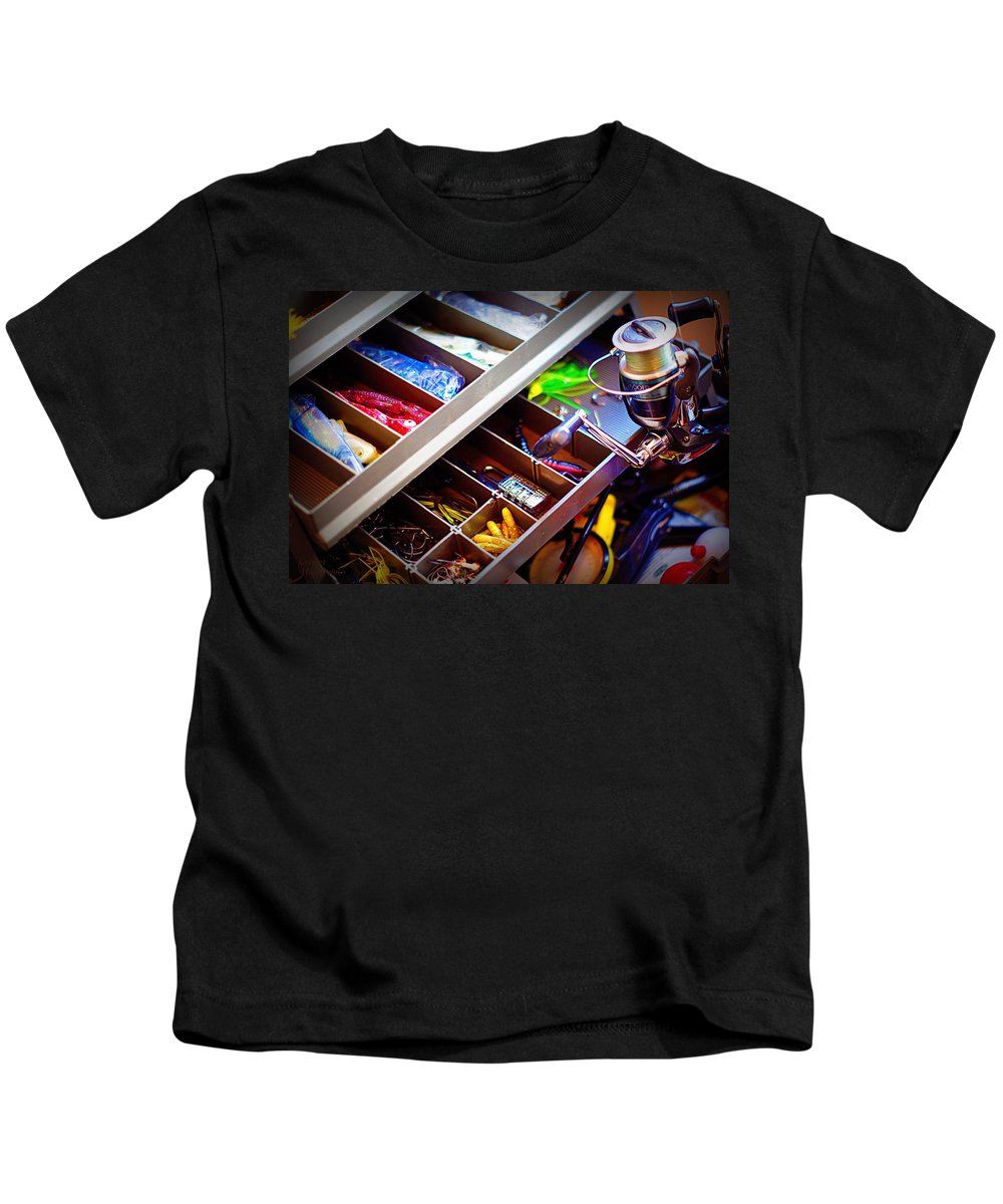 Fishing Kids T-Shirt featuring the photograph Hook Line And Sinker by Cricket Hackmann
