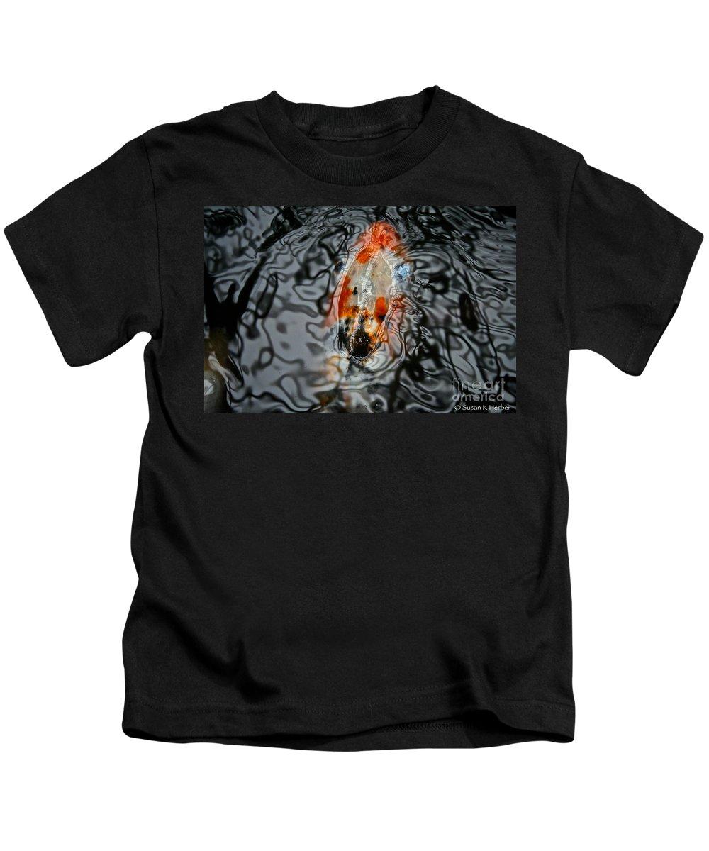 Koi Kids T-Shirt featuring the photograph Hoosier's Pet Koi by Susan Herber
