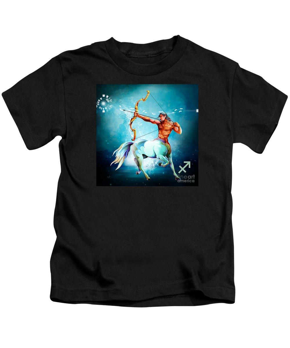 Zodiac Kids T-Shirt featuring the digital art Horoscope Signs-sagittarius by Peter Awax