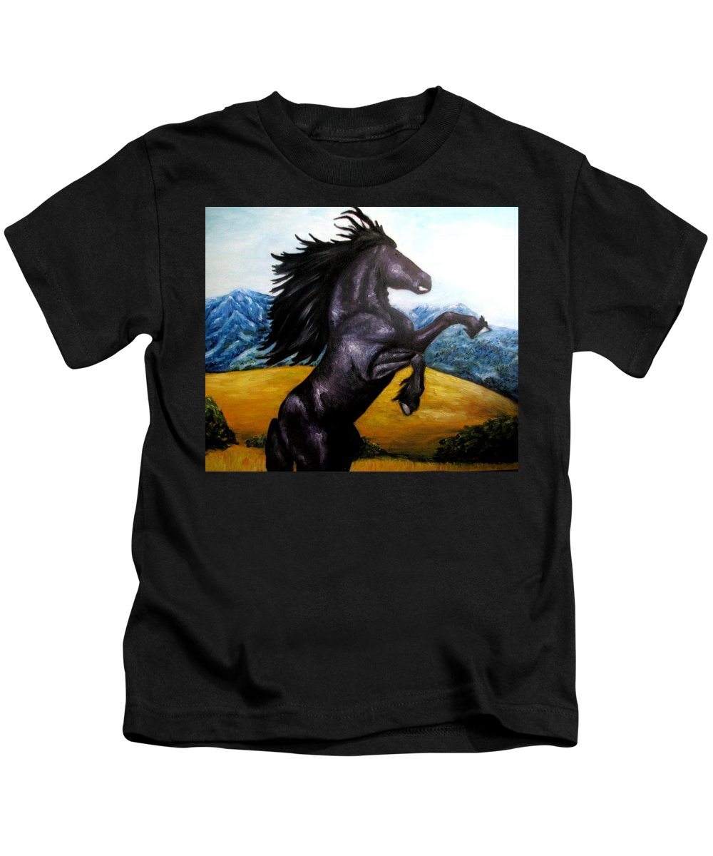 Horse Kids T-Shirt featuring the painting Horse Oil Painting by Natalja Picugina