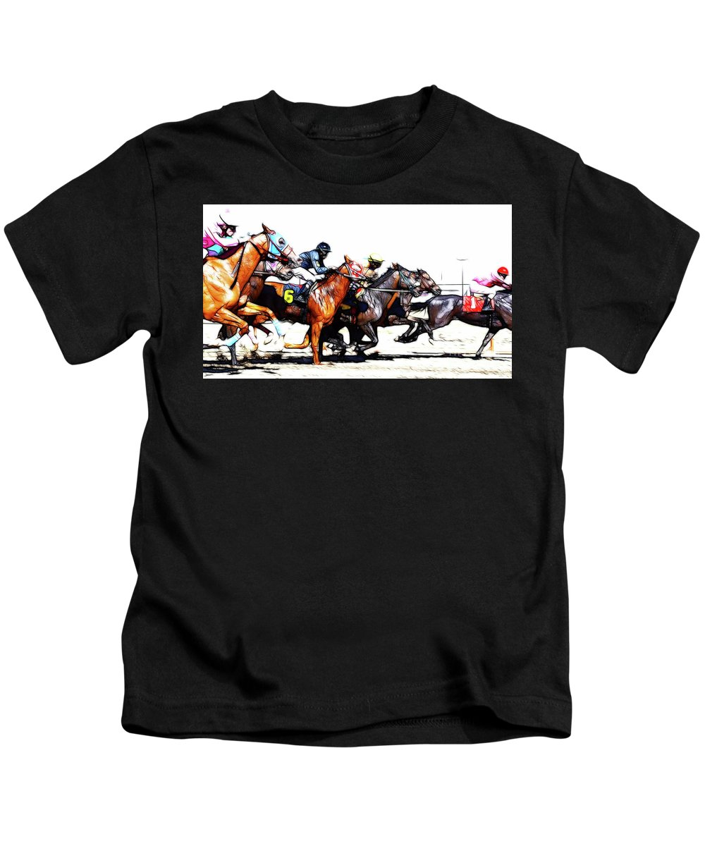 Jockey Kids T-Shirt featuring the photograph Horse Racing Dreams 3 by Bob Christopher
