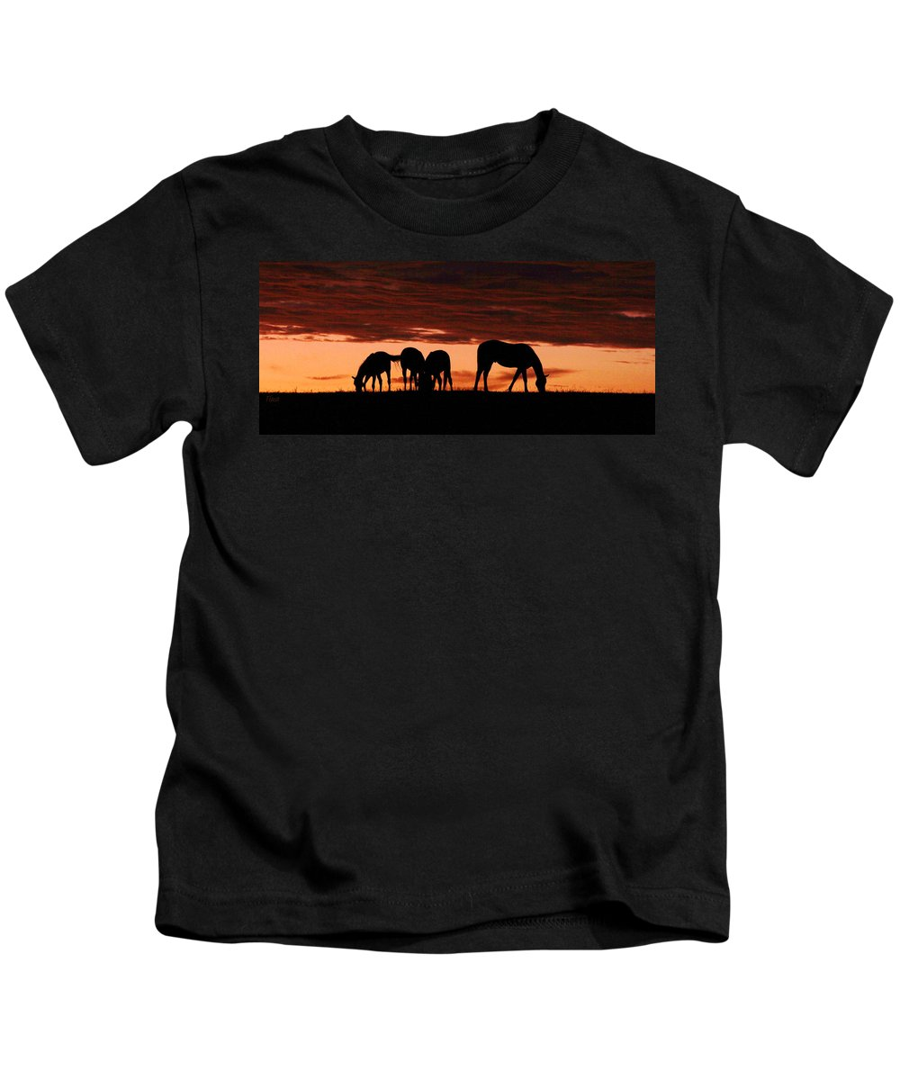 Horses Kids T-Shirt featuring the photograph Horses At Sunset by Tina Meador