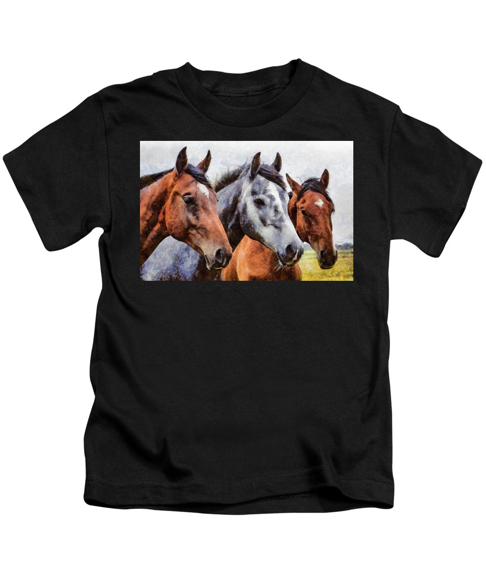 Horses Kids T-Shirt featuring the painting Horses - Id 16217-202754-0357 by S Lurk