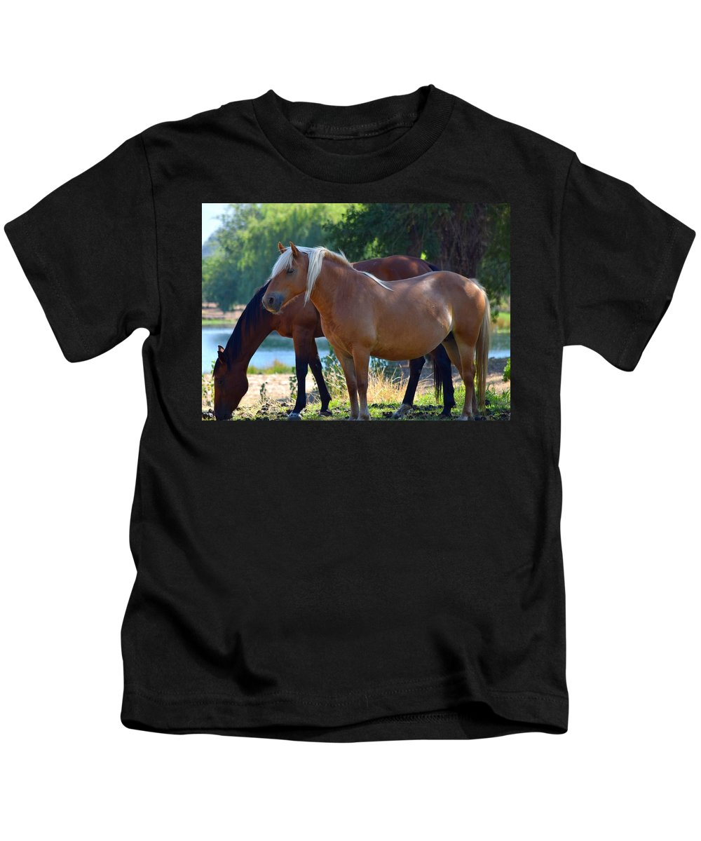 Photograph Of Two Horses Kids T-Shirt featuring the photograph Two Horses by Janet Darling