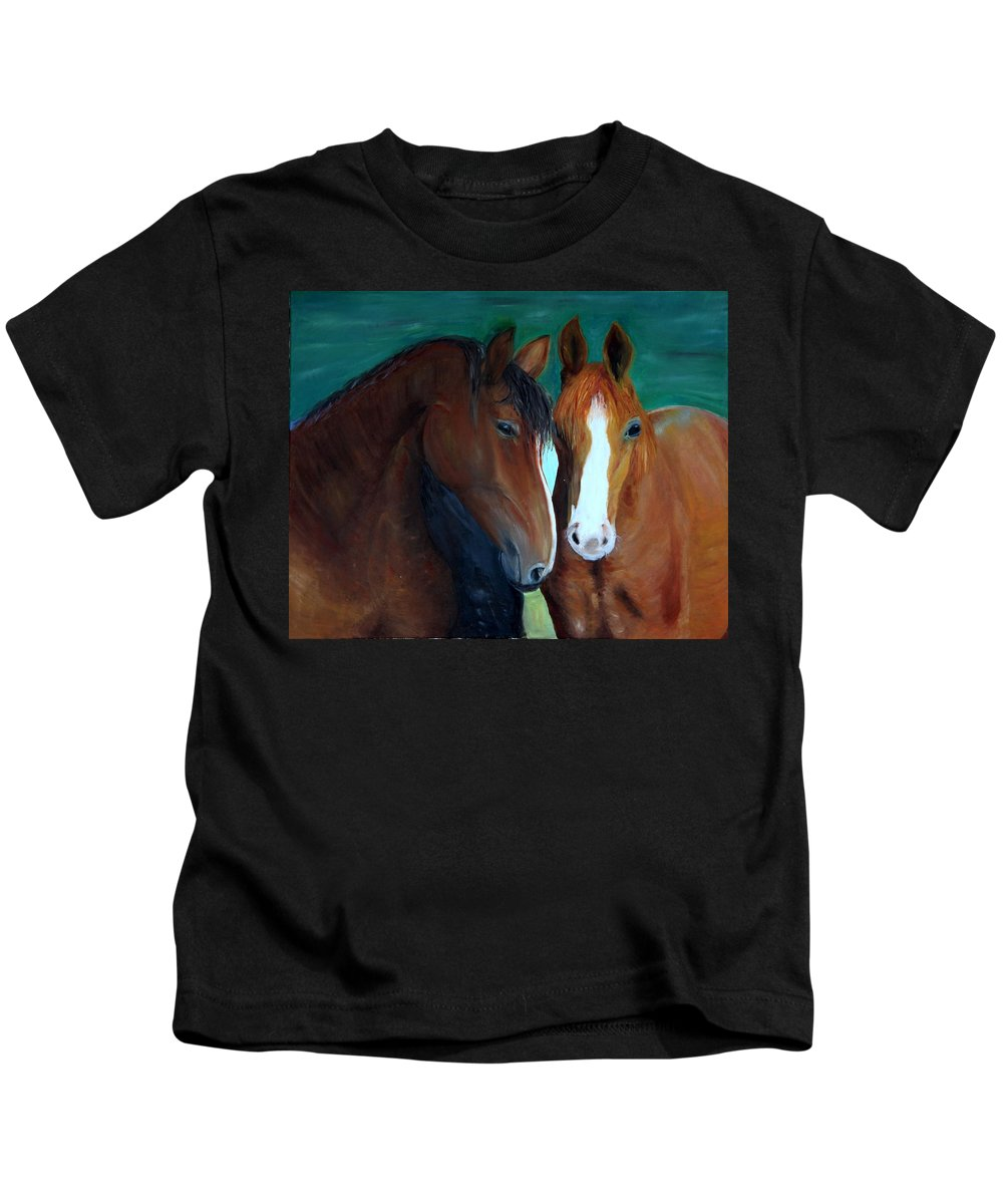 Horses Kids T-Shirt featuring the painting Horses by Taly Bar