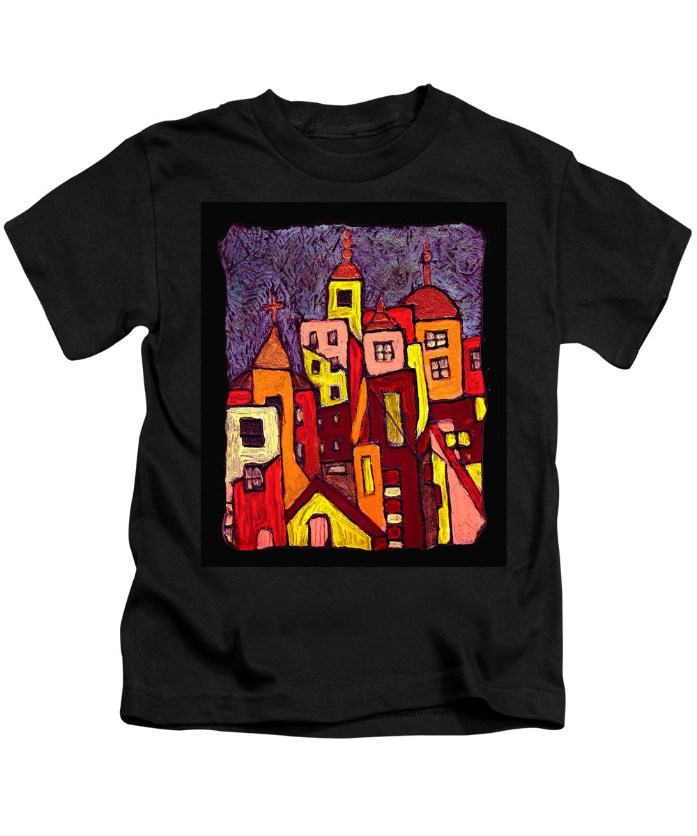 City Scapes Kids T-Shirt featuring the painting Hot Night In The City by Wayne Potrafka